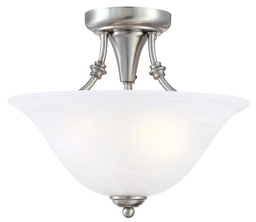 Hardware House 544676 Bristol 13-by-11-Inch 2-Light Semi-Flush Ceiling Fixture with Brushed-Nickel Finish and Alabaster-Glass Shade ()