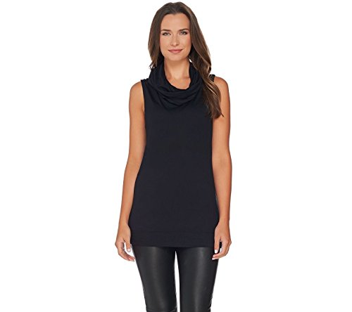 Lisa Rinna Collection Slvless Cowl Neck Knit Top A279894  Black  S