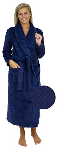 Sleepyheads Women's Jacquard Plush Fleece Long Robe Navy (SH1400-4020-SML)