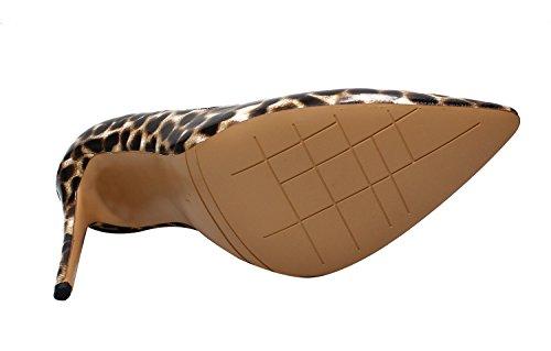 Rask Sjarm Kvinners Spiss Tå Sexy Stiletto Sko Stor Størrelse Høye Hæler Pumps Leopard