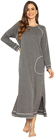Ekouaer Women's Nightshirt Long Sleeve Nightgown Round Neck Sleepwear Full Length Pajama Dress with Pockets Loungewear S-XXL