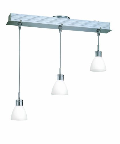 Lite Source LS-19473FRO Catina 3-Lite Ceiling Lamp, Polished Steel with Frosted Glass Shade, Wx