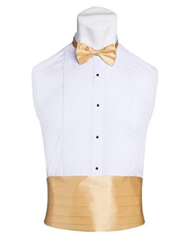 (Men's Premium Cummerbund & Bow Tie Set 100% Silk Cummerbund & Bowtie For Tuxedos & Suits - Many Colors (Gold))