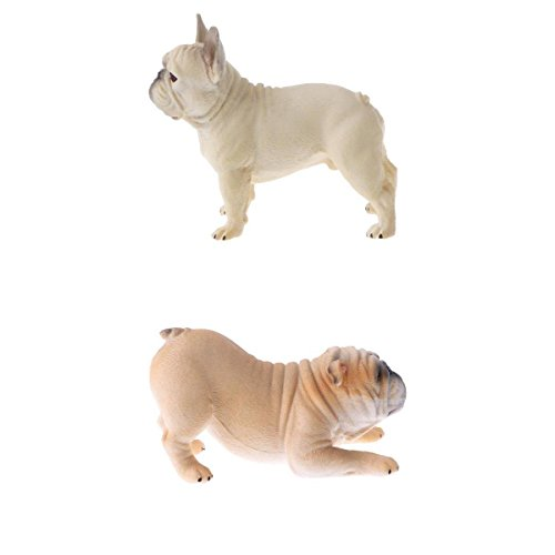 Perfk リアル ブルドッグモデル 子ども おもちゃ 置物 コレクション 犬 動物模型 モデル 全2点 コレクションの商品画像