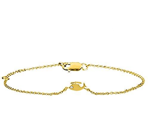 Or Jaune 9 ct Bracelet Diamant en forme de Hélicoptère, 0.01 Ct Diamant, GH-SI, 1.78 grammes.