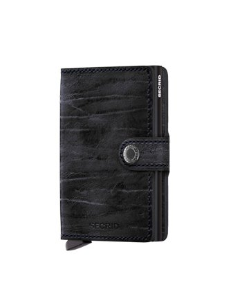Secrid Mini Wallet, Night Blue Dutch Martin, Genuine Leather, RFID Safe, Holds up to 12 Cards