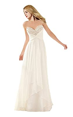 Cecelia's Veil Women's Simple Crystal Beaded Soft Ruched Chiffon Wedding Gown