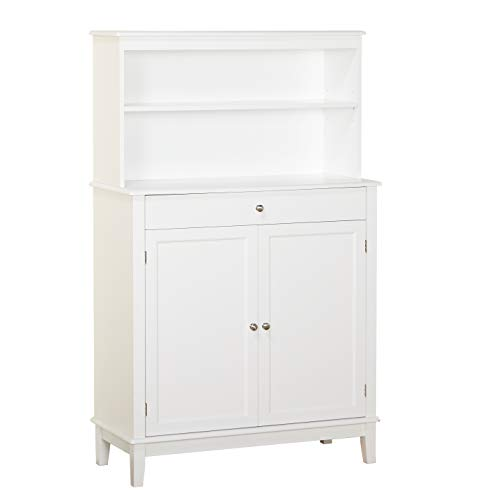 - The Mezzanine Shoppe 79200WHT Farmhouse Mid Century 2 Door 1 Drawer Dining Room Buffet with Hutch, 36