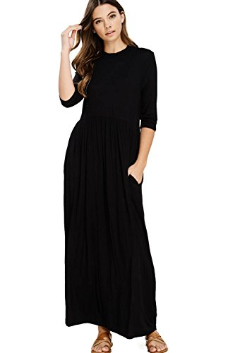 4 Sleeve Long Maxi Dresses with Side Pockets Plus Size XXX-Large Black D5185X ()