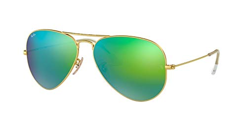 Ray-Ban Men's Aviator Large Metal Non-Polarized Iridium Aviator Sunglasses, Matte Gold, 61.7 ()