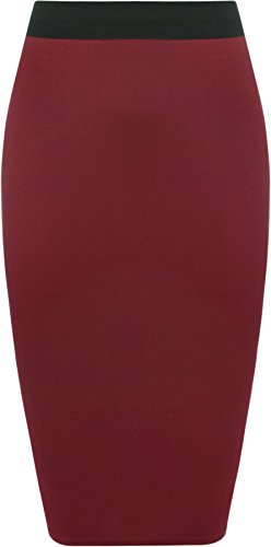 Jupes WearAll jupe taille Femmes 54 Grande Tailles lastiqu genou 44 longueur Vin qqYfgn7
