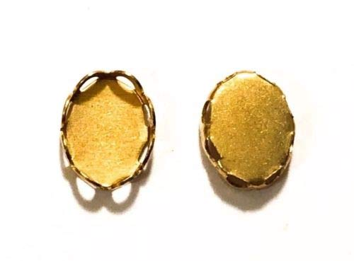(Qty 24 - Lace Edge 8x6mm Raw Brass Oval Bezel Cup Cabochon/Photo Charm Settings )