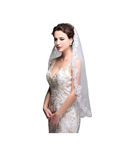 Olbye Women's Wedding Veil 1T Fingertip Length Lace Veil for Bride Embroidered Veil With Comb Wedding Headpiece (Ivory) ()