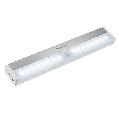 Kitchen Closet Under Cabinet Stick On 18 Led Motion Sensor: Under Counter Lighting, AVANTEK ELF-L2 USB Rechargeable
