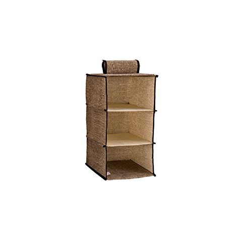 wellhouse Foldable Hanging Clothes Wardrobe Storage Bag Durable Accessory Shelves Container Box for Closet Sweater Handbag Organizer (Three layers-1 Pack)