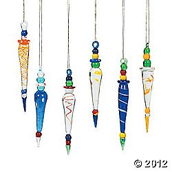 12 FANCY Colorful GLASS ICICLE Christmas Ornaments/HOLIDAY Tree DECOR/DECORATIONS/Secret SANTA/YANKEE SWAP ()