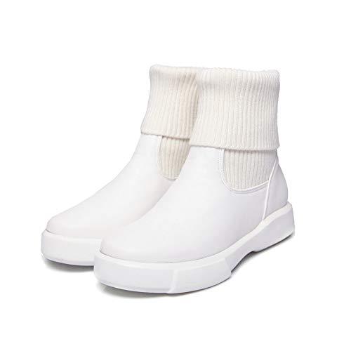 HOESCZS 2019 Frauen Stiefeletten Slip on Wedges Ferse Mode Damen Schuhe Feste Karree All Match Frauen Stiefel Größe 34-43