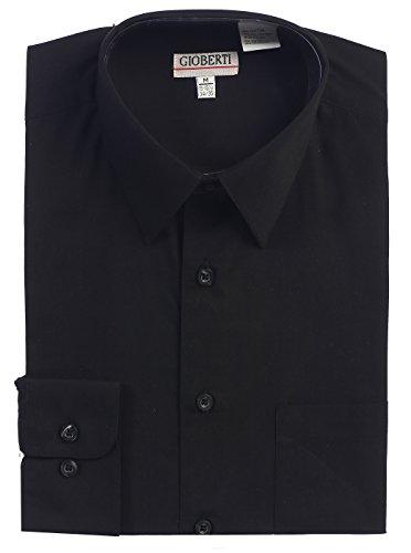 (Gioberti Men's Long Sleeve Solid Dress Shirt, Black, X Large, Sleeve 35-36)