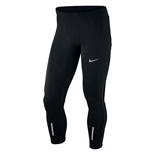 Nike Men's Power Tech Black Dri Fit Running Tights, Black/Reflective Silver, Medium