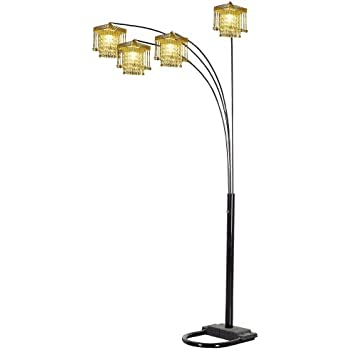 Ore International 4 Arm Arch Floor Lamp Gold Shade