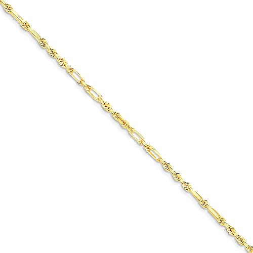 ICE CARATS 14k Yellow Gold 1.8mm Milano Link Rope Chain Anklet Ankle Beach Bracelet Fine Jewelry Gift For Women Heart by ICE CARATS