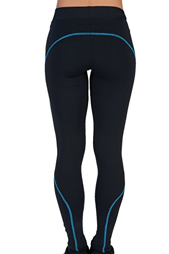 Lange Strumpfhosen für Frauen Basic Leggins Breite Taille Elastische Sports Opaque Hose ROSSO Lycra Schwarz Routine TÜRKIS Yoga Gym Pilates Lauf Fitness Laufen (M)