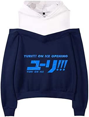 Yuri on Ice Pullover Sweatshirt Hooded Patchwork Tops Long Sleeve Strapless Stylish Imprint Pullover Unisex