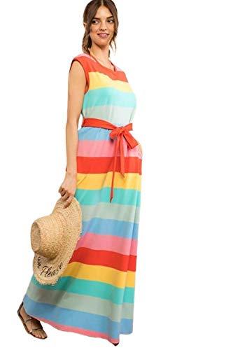 (Women's Stripe Cap Sleeve Waist Tie Belt Cotton Maxi Dress (Large) Rainbow)