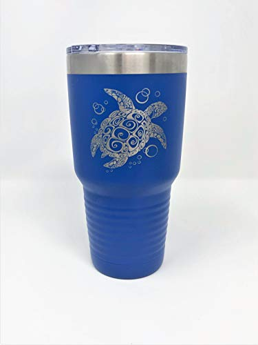 All Things Sea Turtles Double Wall Insulated Stainless Steel 30 oz Tumbler w/Textured Grip, Sea Turtle, Blue