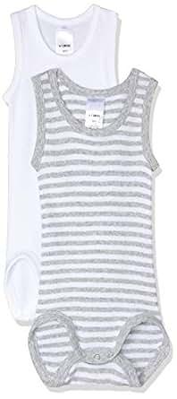 Bonds Baby-Girls Singletsuit, Grey Stripe & White, 000 (0-3 Months), Pack of 2