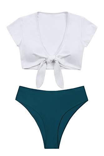 Lemonfish Women's Bikini Swimsuit Plus Size, Tie Knot Front Swimwear Set 2 Pieces Bathing Suits White Green,XL (Plus Size Thong Swimsuit)