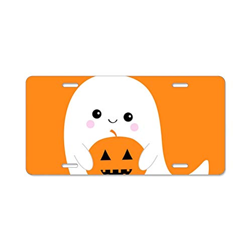 YEX Abstract Flying Ghost Spirit Holding Pumpkin Boo happy6 License Plate Frame Car Licence Plate Covers Auto Tag Holder 6