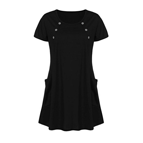 AmyDong Ladies Dress Lady's Skirt Women Loose Pocket Casual O Neck Button Short Sleeve Mini Dress Leisure Relaxed Polyester (2XL, Black)