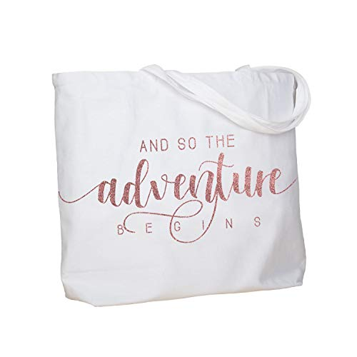ElegantPark And So the Adventure Begins Wedding Bride Tote Bachelorette Party Gift Personalized Travel Shoulder Bag Canvas White with Rose Gold Glitter (Best Adventure Travel Bags)