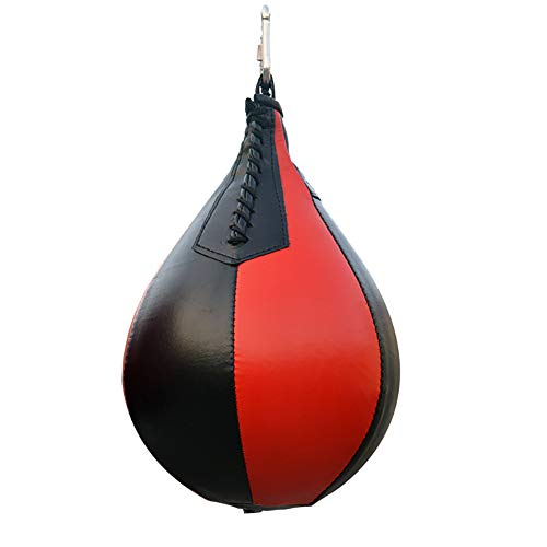 Hanging Boxing Ball PU Leather Pear-Shaped Professional Boxing Punching Speed Dodge Ball for Daily Exercise Training Black/Red 1Pc
