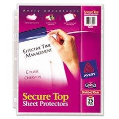 ((3 Pack Value Bundle) AVE76000 Secure Top Sheet Protectors, Heavy Gauge, Letter, Diamond Clear, 25/Pack)