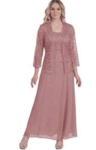 Womens Long Mother of The Bride Evening Formal Lace Dress with Jacket (2X, Dusty Rose)