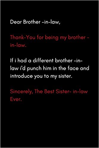 Dear Brother In Law Funny Modern Blank Lined Journal