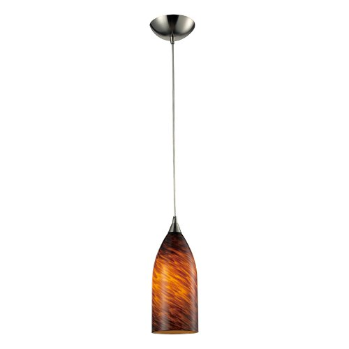 Elk 502-1ES 1-Light Pendant In Satin Nickel and Espresso Glass (Collection Verona Pendant)