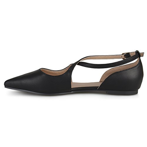 Journee Collection Womens Bout Pointu Crossover Noir