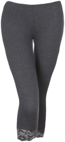 Kmystic Cotton Blend Lace Trim Capri Leggings At Amazon Women S Clothing Store