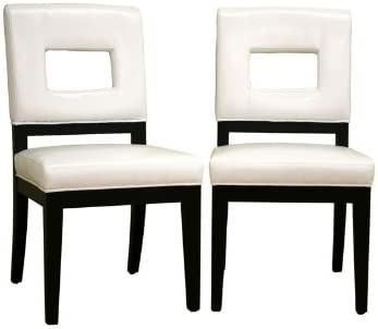 Baxton Studio Diaz Cream Leather Dining Chair Set of 2