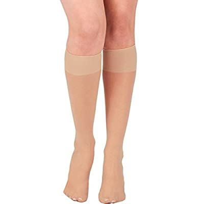 KMystic Womens Trouser Socks Knee High (Beige) at Women's Clothing store