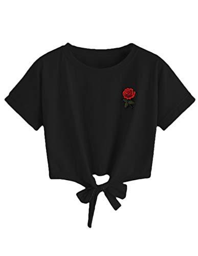 8d499d60b1b65 Women Teen Girls Rose Print Striped V-Neck Crop Top Belly Shirt Tees ...