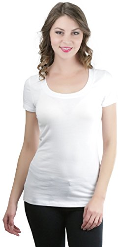 ToBeInStyle Women's Slim Fit Scoop Neck S.S. Longline Tee - White - (Ladies Scoop Neck Tee)