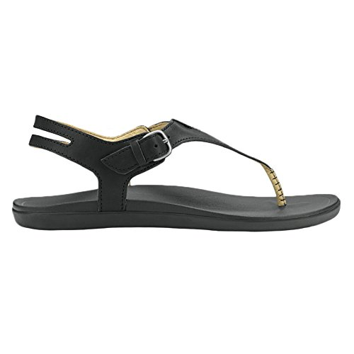 Black Black T Strap Women's OluKai Eheu Leather Sandal 7qXvpw