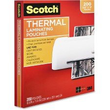 3M Scotch TP3854200 Letter Size Thermal Laminating Pouches, 3 mil, 11 2/5 x 8 9/10, 200 per Pack ()