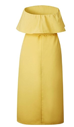 Tubes Coolred-femmes Boutons En Haut De Panser Robes D'emballage Flouncing Solide Jaune