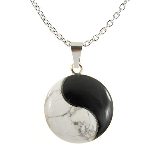 CHAINED Power Pack Series - Yin Yang Martial Arts Round Pendant Howlite & Onyx 25mm Black White Gray - 22