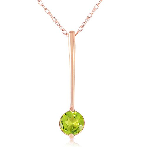 ALARRI 0.6 Carat 14K Solid Rose Gold Necklace w/ Natural Peridot with 24 Inch Chain Length by ALARRI